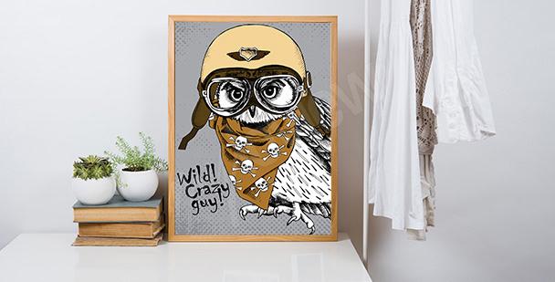 Poster hibou avec un casque
