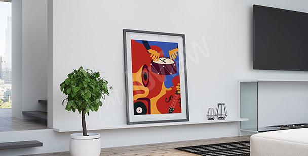 Poster instruments de jazz rétro