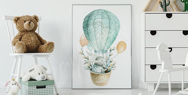 Poster lapin à l'aquarelle