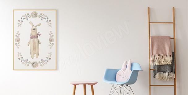 Poster lapin en peluche