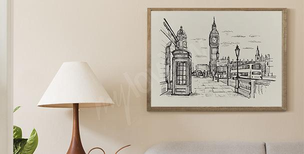 Poster Londres en noir et blanc