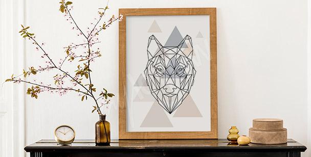 Poster loup et géométrie