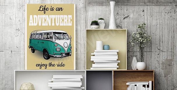 Poster minibus dans un style rétro