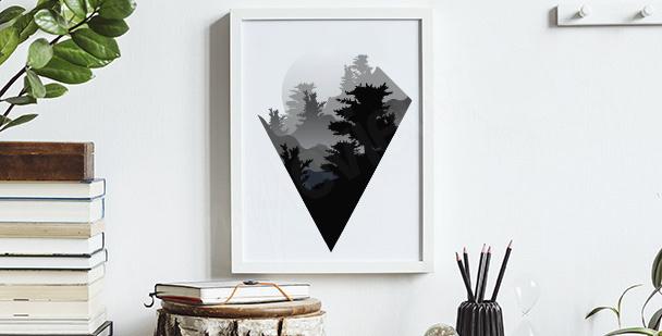 Poster minimaliste avec des montagnes