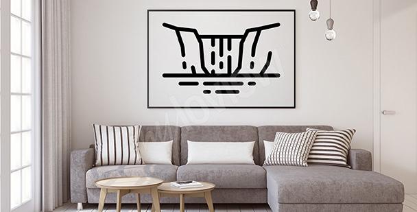 Poster minimaliste chute d'eau