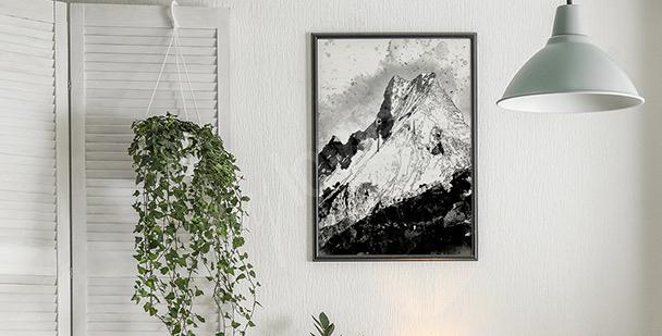 Poster montagne en noir et blanc