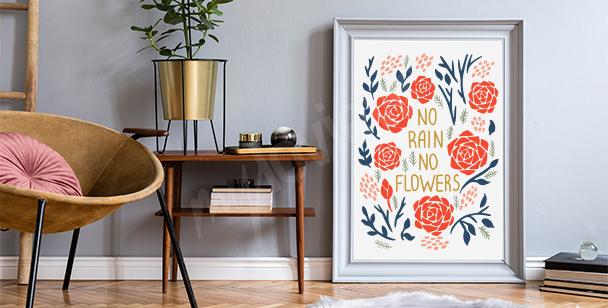 Poster motivation et fleurs