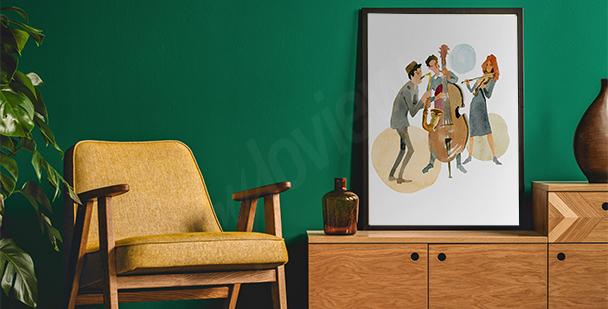 Poster musiciens aquarelle
