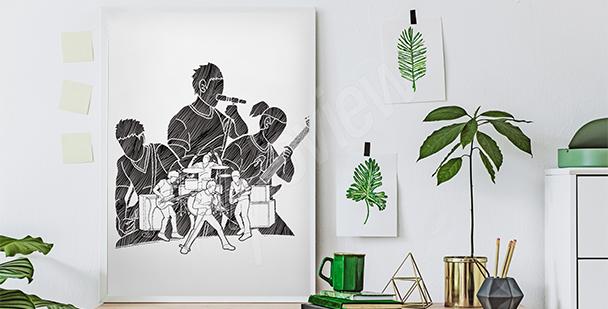 Poster musiciens en noir et blanc