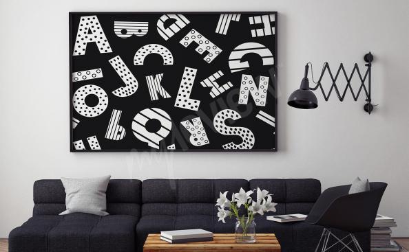 Poster noir et blanc alphabet