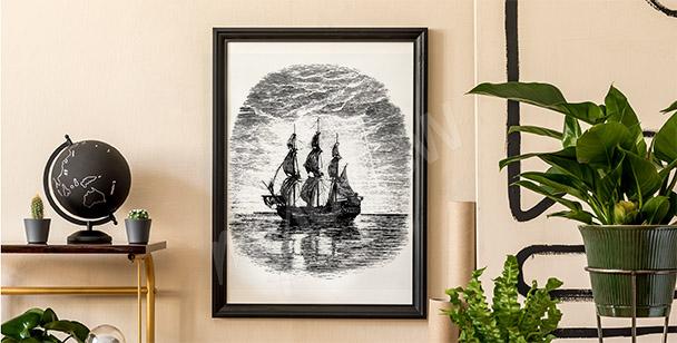 Poster noir et blanc avec un bateau