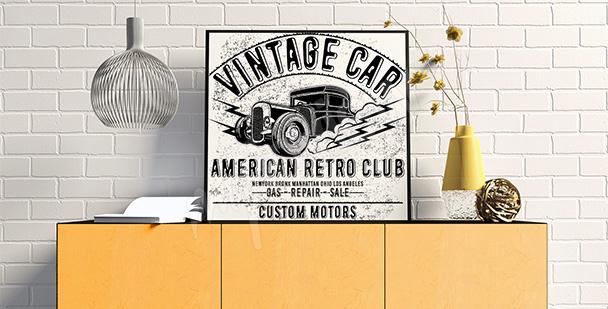 Poster noir et blanc vintage