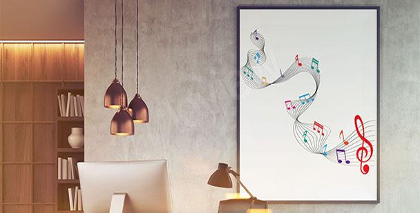 Poster notes de musique sur une portée