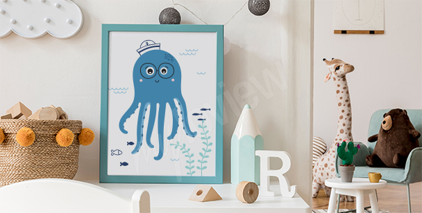 Poster octopus rigolo
