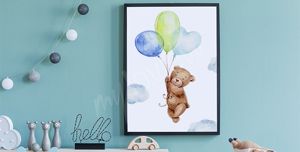 Poster ours et ballons