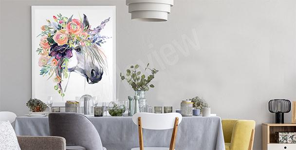 Poster pastel licorne