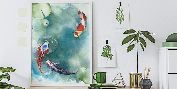 Poster poissons japonais