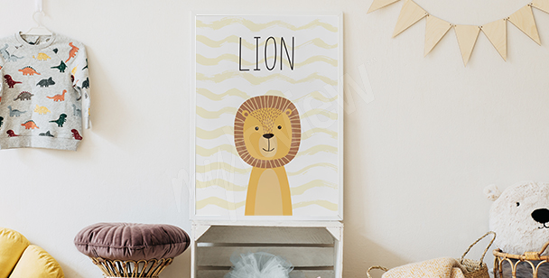 Poster pour chambre de garçon - lion