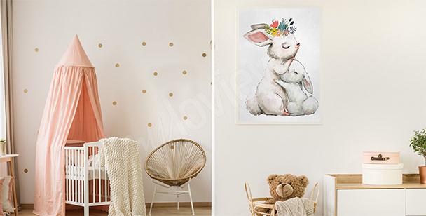 Poster portrait d'une girafe