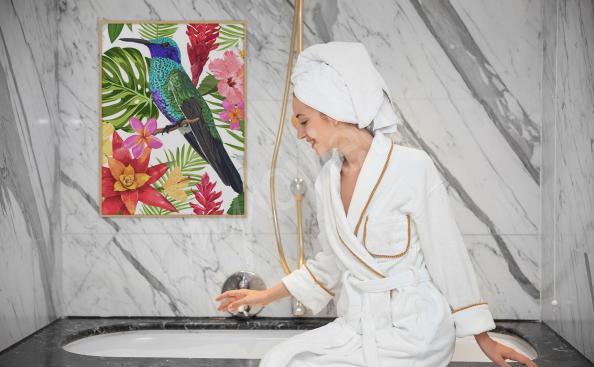 Poster pour salle de bains oiseau tropical