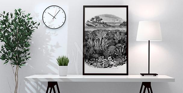 Poster récif corallien noir et blanc