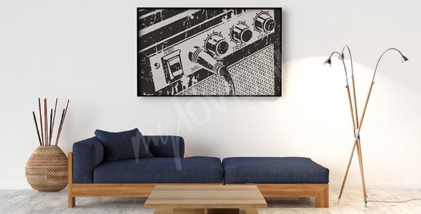Poster rétro avec un ampli guitare