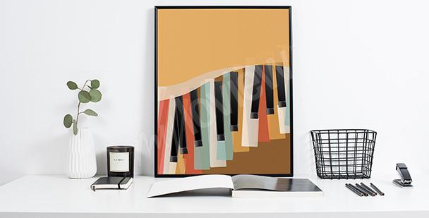 Poster rétro clavier de piano
