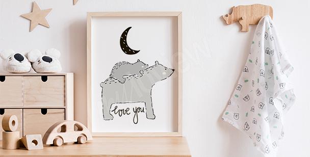 Poster style scandinave avec un ours