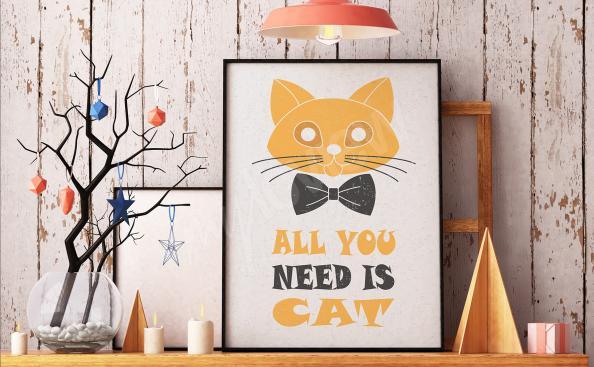 Poster typographique avec chat