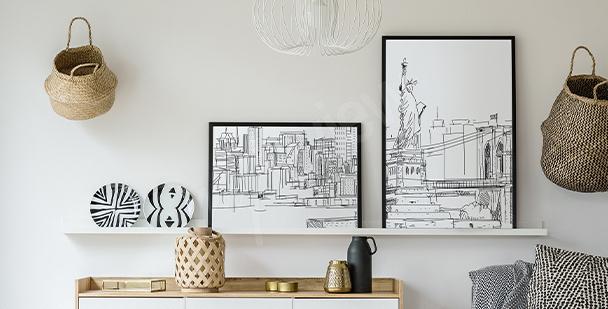Poster ville en noir et blanc