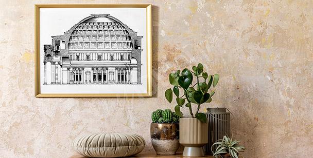 Poster vintage avec le Panthéon