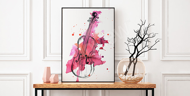 Poster violon aquarelle rose