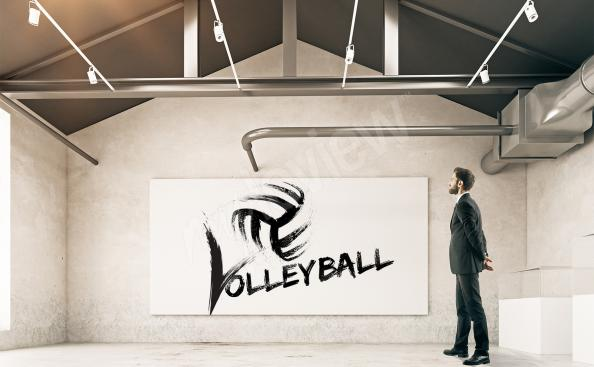 Poster volley-ball noir et blanc