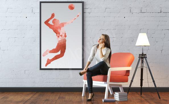 Poster volleyeur et ballon