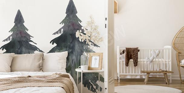 Sticker arbres noirs et gris