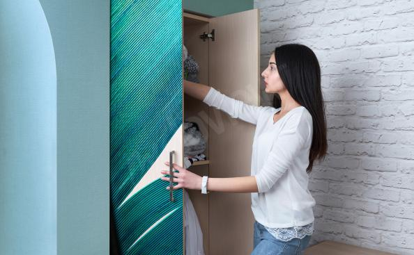 Sticker armoire plume turquoise
