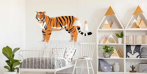 Sticker avec tigre géométrique