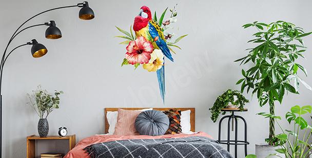Sticker avec un perroquet coloré