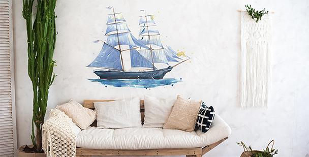 Sticker bateau aquarelle