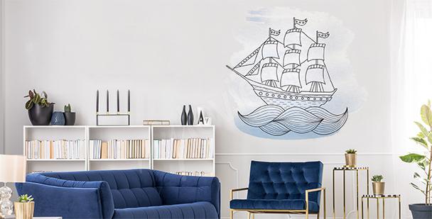 Sticker bateau sur la mer