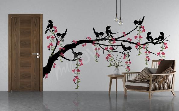 Sticker branche arbres oiseaux