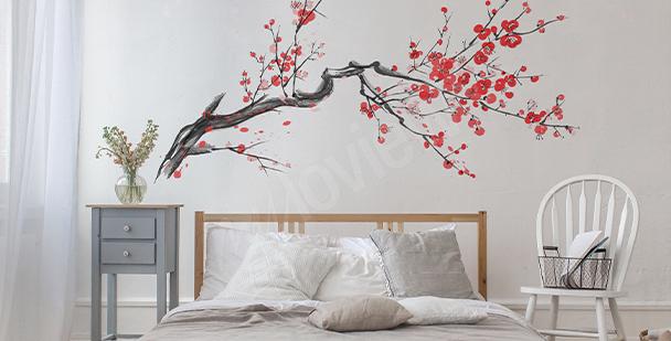 Sticker branche avec des fleurs