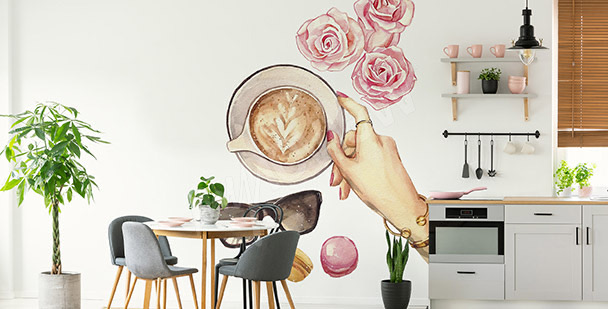 Sticker café et roses