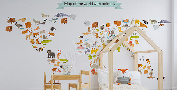 Sticker carte du monde animaux