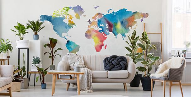Sticker carte du monde aquarelle