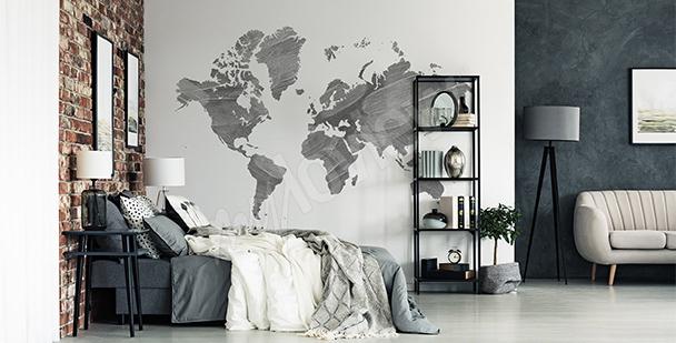 Sticker carte du monde grise