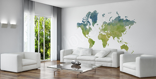 Sticker carte du monde style éco