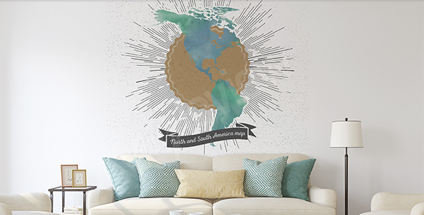 Sticker carte rétro les Amériques