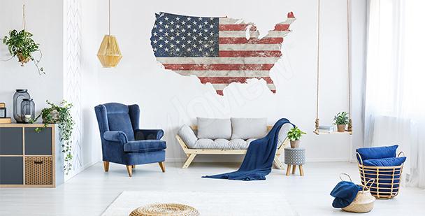 Sticker carte rétro USA