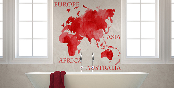 Sticker carte rouge continents